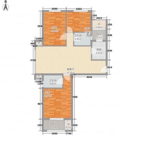 京城豪苑3室1厅2卫1厨128.00㎡户型图