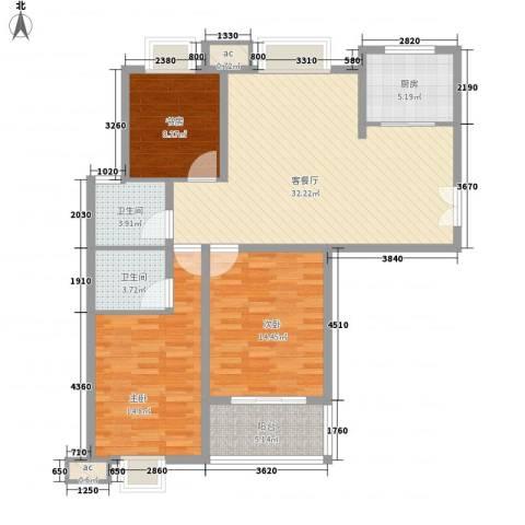星盛家园3室1厅2卫1厨127.00㎡户型图