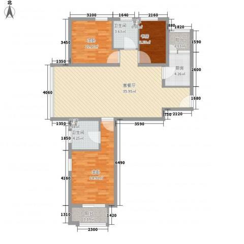 京城豪苑3室1厅2卫1厨97.00㎡户型图