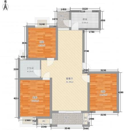 惠南一方新城3室1厅1卫1厨120.00㎡户型图