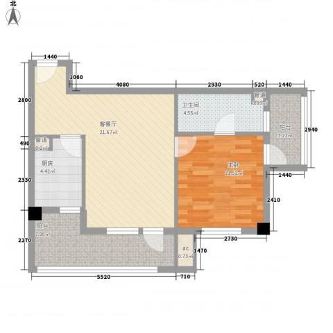 京城豪苑1室1厅1卫1厨62.84㎡户型图