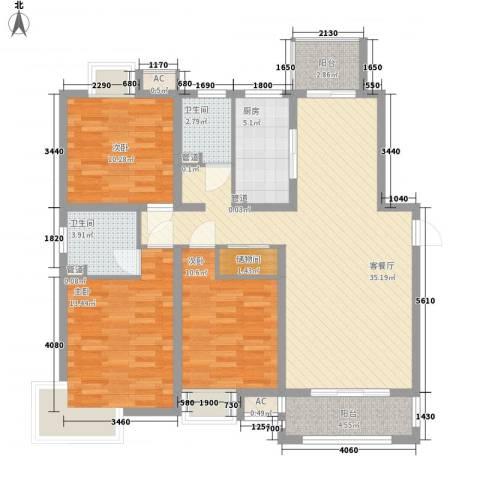 惠南一方新城3室1厅2卫1厨132.00㎡户型图