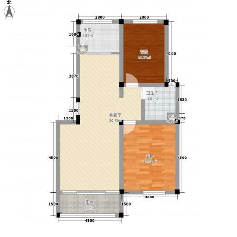 海通・时代康桥1期2室1厅1卫1厨99.00㎡户型图