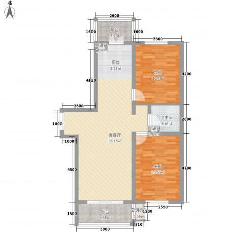 大正莅江2室1厅1卫0厨106.00㎡户型图