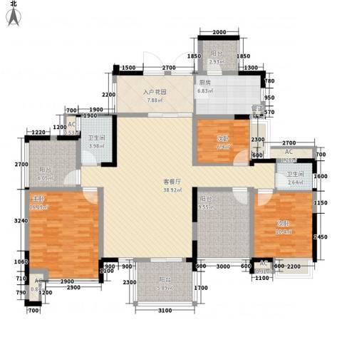 梅龙苑3室1厅2卫1厨126.00㎡户型图