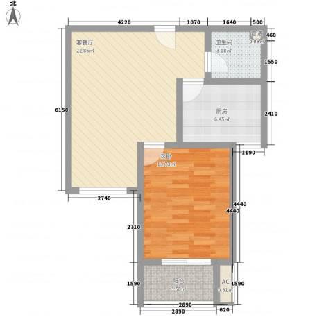 假日花城1室1厅1卫1厨65.00㎡户型图