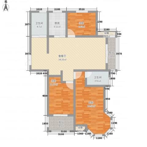映象西班牙3室1厅2卫1厨141.00㎡户型图