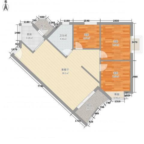 嘉仕花园上领3室1厅1卫1厨91.00㎡户型图