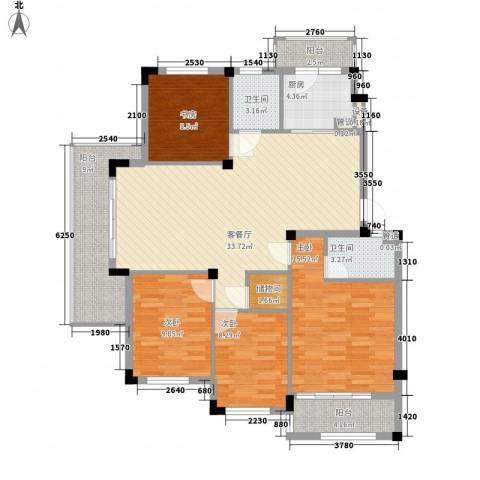 秀州咖尔花园4室1厅2卫1厨147.00㎡户型图