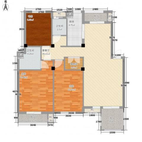 秀州咖尔花园3室1厅2卫1厨137.00㎡户型图