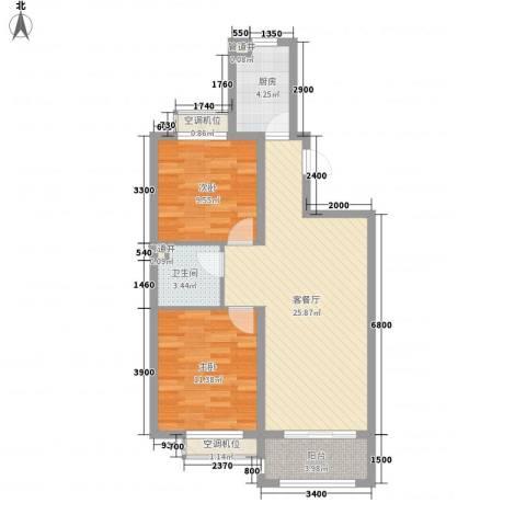 诚安友谊天地2室1厅1卫1厨91.00㎡户型图