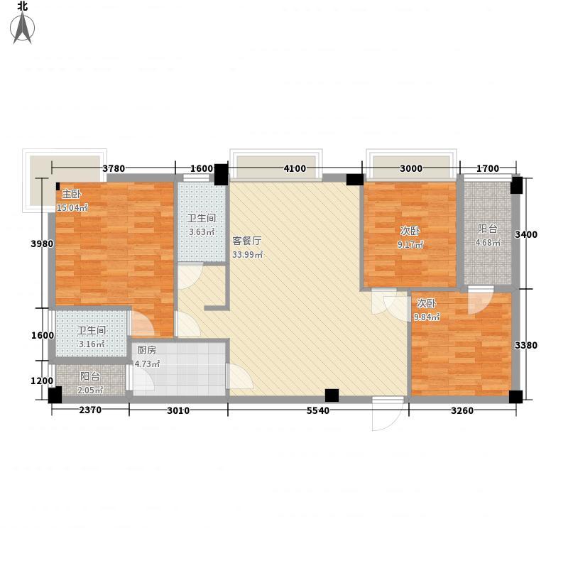 凯润嘉园12.70㎡1/2号楼A户型3室2厅2卫1厨