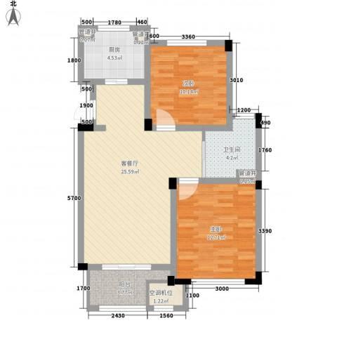 绿城乌镇雅园2室1厅1卫1厨90.00㎡户型图