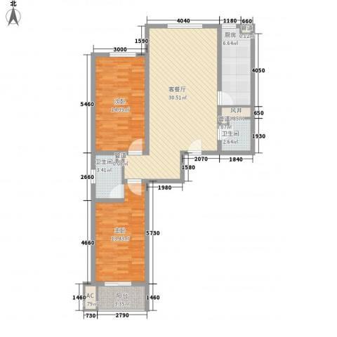 文澜阁2室1厅2卫1厨110.00㎡户型图