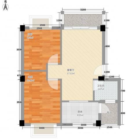 水岸怡园2室1厅1卫1厨63.00㎡户型图