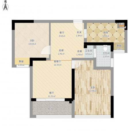 紫元阳光水榭2室1厅1卫1厨85.00㎡户型图