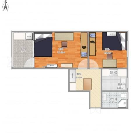巨西小区2室1厅1卫1厨56.00㎡户型图