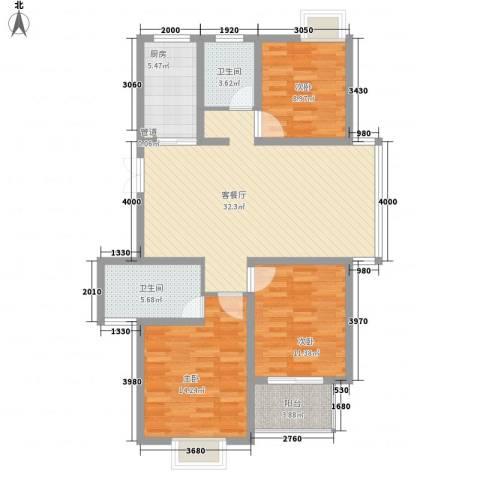 新城玉龙湾3室1厅2卫1厨122.00㎡户型图