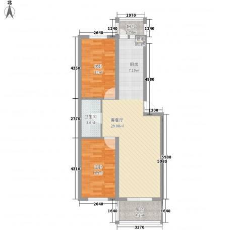 亿达帝景2室1厅1卫0厨83.00㎡户型图