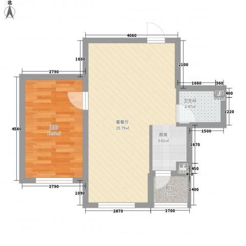 亿达帝景1室1厅1卫0厨64.00㎡户型图