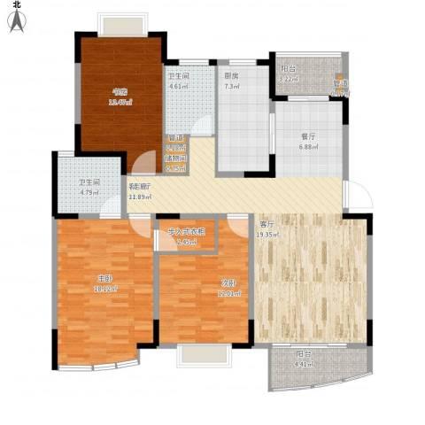 嘉禾现代城3室1厅2卫1厨153.00㎡户型图