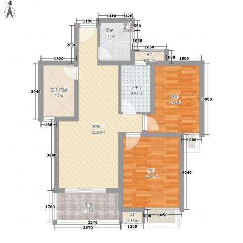 香江壹品2室1厅1卫1厨89.00㎡户型图