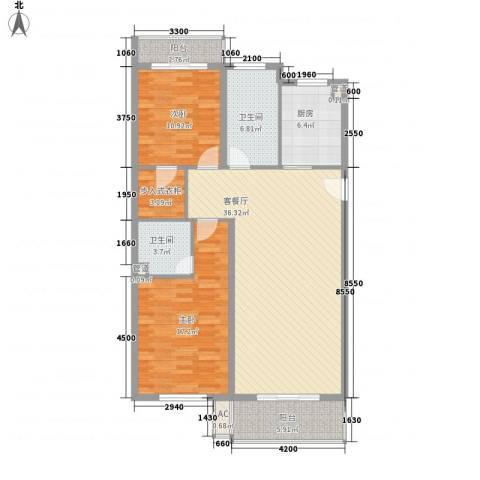 都市・心海岸2室1厅2卫1厨132.00㎡户型图