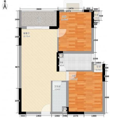 新蓝湾2室1厅1卫1厨90.00㎡户型图
