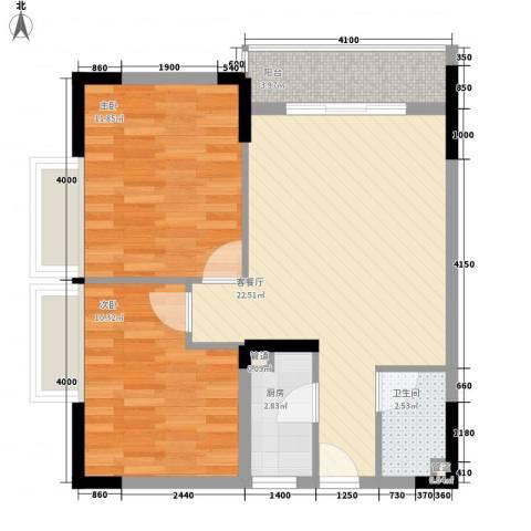 新蓝湾2室1厅1卫1厨77.00㎡户型图