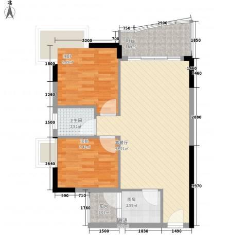 绿杨居2室1厅1卫1厨77.00㎡户型图