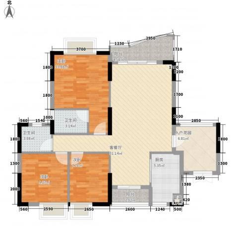 绿杨居3室1厅2卫1厨113.00㎡户型图