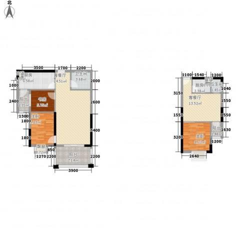 逸静园3室2厅2卫2厨125.00㎡户型图