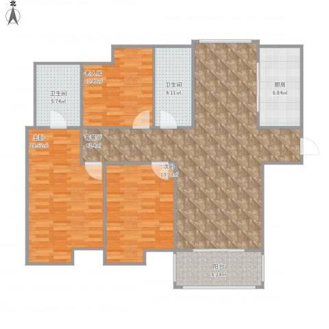 吴中豪景华庭3室1厅2卫1厨147.00㎡户型图