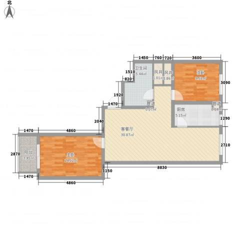 文澜阁2室1厅1卫1厨101.00㎡户型图