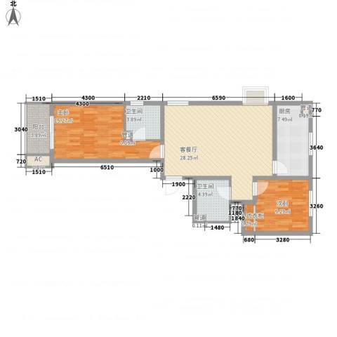 文澜阁2室1厅2卫1厨107.00㎡户型图