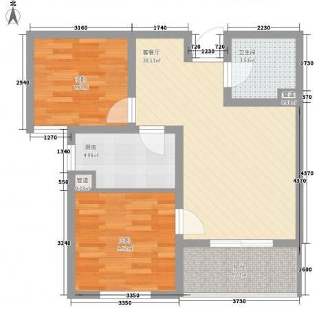 文澜阁2室1厅1卫1厨75.00㎡户型图