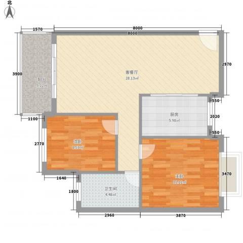 三城花苑2室1厅1卫1厨90.00㎡户型图