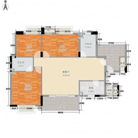 云峰学府南苑3室1厅2卫1厨146.00㎡户型图