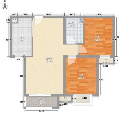 七彩阳光城2室1厅1卫1厨82.00㎡户型图