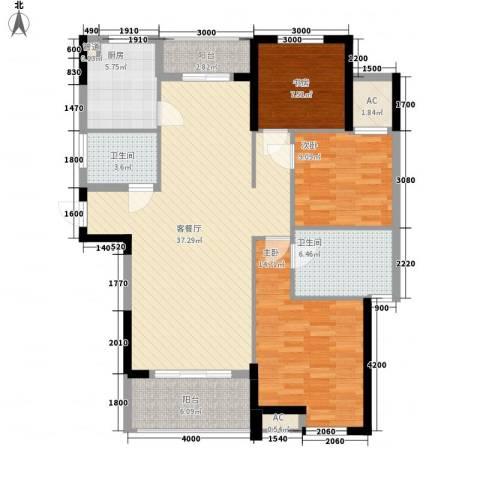 丰和新城二期3室1厅2卫1厨128.00㎡户型图