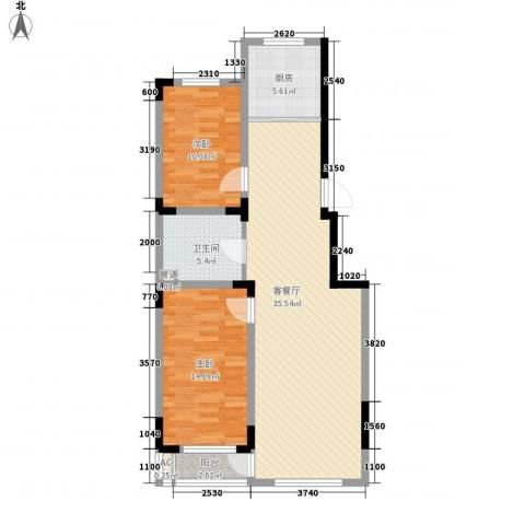 天富北苑2室1厅1卫1厨83.44㎡户型图