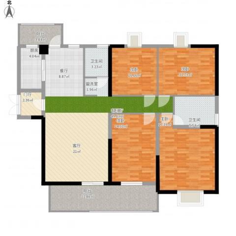 五岭国际4室1厅2卫1厨180.00㎡户型图