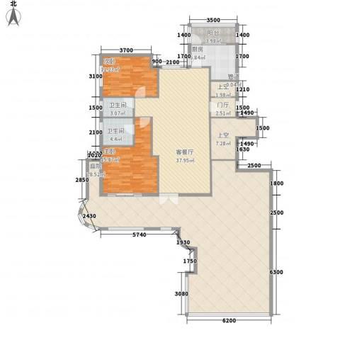 大�海・半山壹�2室1厅2卫1厨173.68㎡户型图