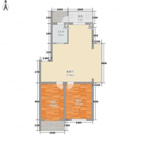 上东街区美一方2室1厅1卫1厨98.00㎡户型图