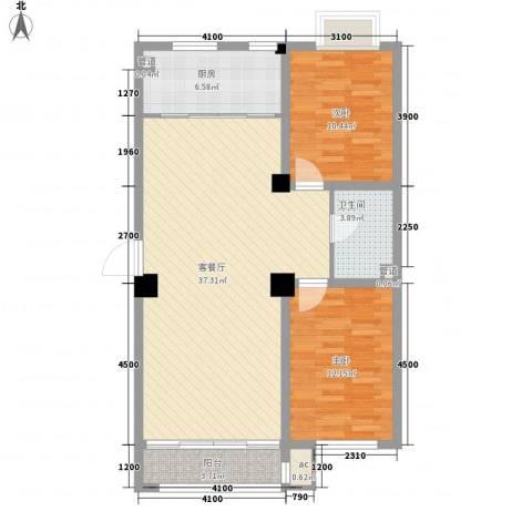 东方俪城2室1厅1卫1厨99.00㎡户型图