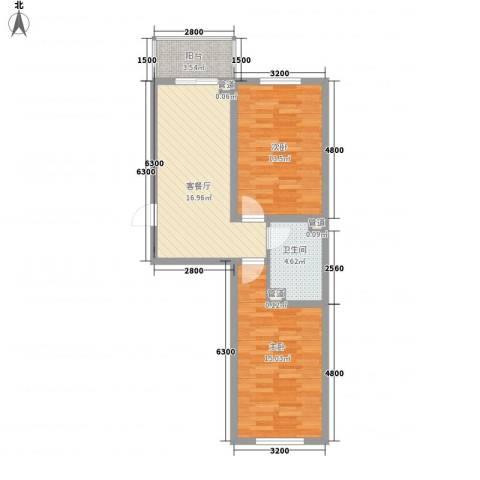 上东街区美一方2室1厅1卫0厨75.00㎡户型图