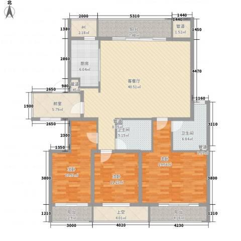 中银公寓3室1厅2卫1厨185.00㎡户型图