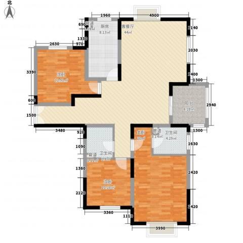 新兴骏景园二期3室1厅2卫1厨140.00㎡户型图