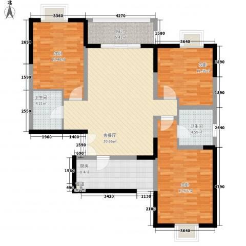 新兴骏景园二期3室1厅2卫1厨124.00㎡户型图