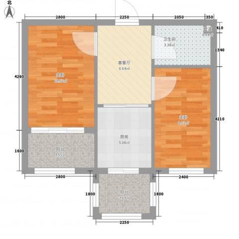 泰和轩2室1厅1卫1厨60.00㎡户型图